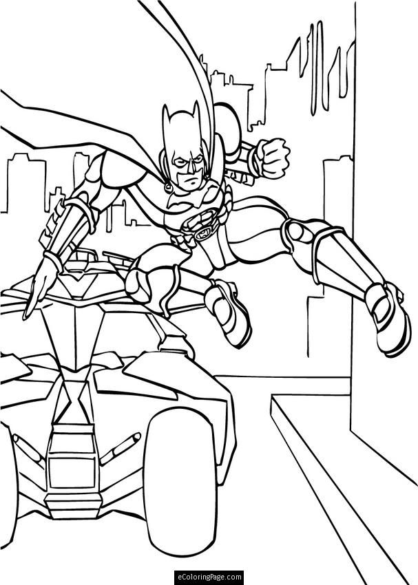 Batman Dark Knight Jumps Out of the Tumbler Batmobile Coloring