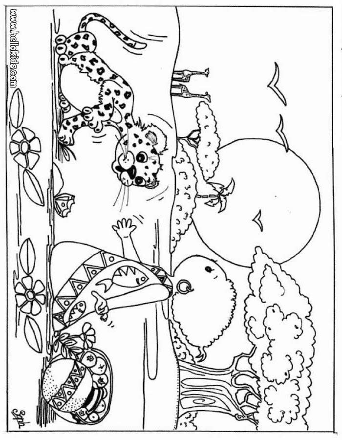 AFRICAN ANIMALS coloring pages - Kid and leopard