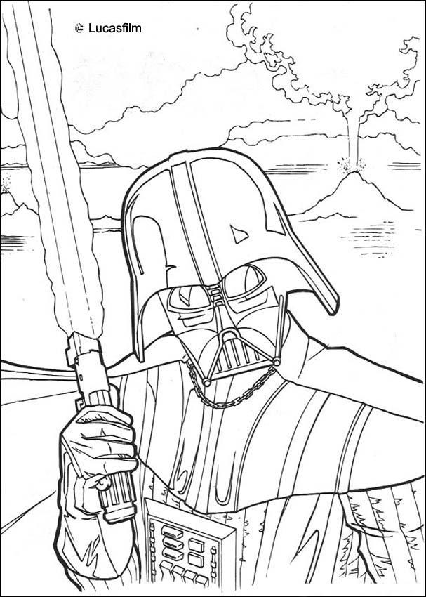 DARTH VADER coloring pages - Fighting Darth Vader