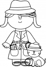 nice Little Girl Detective With Cat Coloring Page | Cat coloring ...