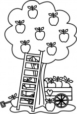 carriage under an apple tree coloring page kids play color fall