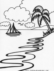 Tropical Island - Beach Scene Coloring Page