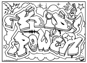 "ONE LOVE"" Graffiti, free coloring page, graffiti printable, free ..."