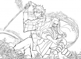 Tanjiro and Nezuko Demon Slayer Coloring Page - Free Printable Coloring  Pages for Kids
