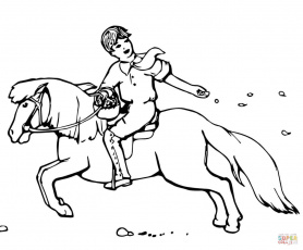 Boy Sowing Seeds While Riding a Pony coloring page | Free ...