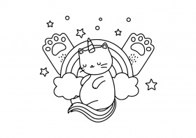 Unicorn Cat Rainbow Coloring Page