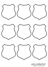 Police Officer Badge Coloring Page - HiColoringPages