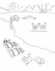 beach scene coloring pages kids | The Coloring Pages
