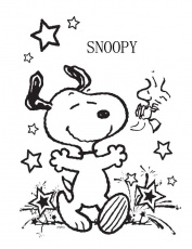 Snoopy Very Happy Coloring Page - Snoopy Coloring Pages : Coloring