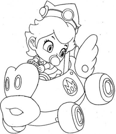 Print baby princess peach mario kart wii coloring pages or for Mario kart wii coloring pages