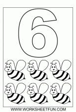 Number 6 Coloring Page Six Bee Coloring Pages 126097 Preschool