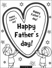 Happy Fathers Day Son and Daughter Holding a Heart Coloring Page
