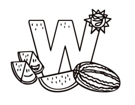 Printable Letter W (Kiddy) coloring page from FreshColoring.