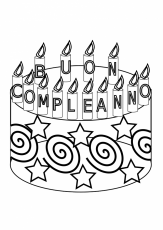Compleanno Happy Birthday Cake Black White Line Art Coloring Book