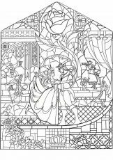 beauty and the beast stained glass window coloring page