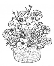 Download Flower Bouquet With Classical Basket Coloring Pages Or