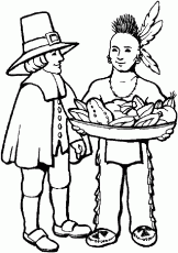 Native American and Pilgrim Coloring Page – Thanksgiving Coloring