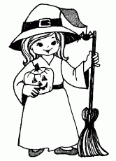 Little Witch of Halloween Coloring Pages – Free Halloween Coloring