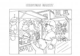 Christmas market coloring pages