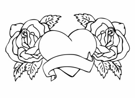 adult rose flowers. hearts and roses coloring pages coloring pages ...