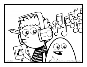 Listening To Music Coloring Pages Free Kids Online Download