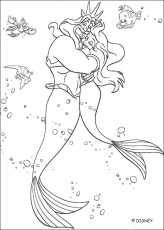 The Little Mermaid coloring pages - Ariel and Prince Eric on a boat