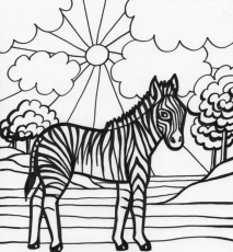 Coloring Page Of Zebras : Printable Coloring Book Sheet Online for
