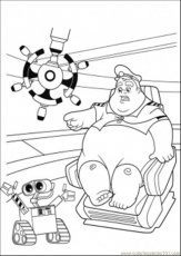 Coloring Pages Wall E Talks With Captain (Cartoons > Wall-E