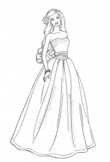 long dress barbie coloring pages | Great Coloring Pages