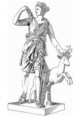 Coloring page Artemis, godess of greek mythology - img 13195.