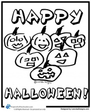 Free Printable happy halloween pumpkins coloring page - from
