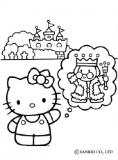 HELLO KITTY coloring pages - Hello Kitty, King and the castle