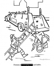 Fire Truck with Firemen in Action Printable Coloring Page