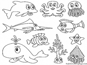 Ocean Animals Coloring Pages Realistic Hagio Graphic Water 292763