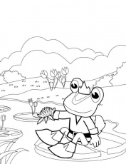 Prince Frog Over The Pond Coloring Page Prince Frog Over The Pond