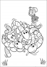 Toy Story Disney : Woody Riding Dog Toy Story 2 Coloring Page