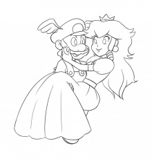 mario and princess peach coloring pages