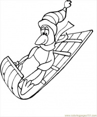 Coloring Pages Penguin On Sled (Birds > Penguin) - free printable