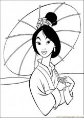 Coloring Pages Mulan Holds An Umbrella (Cartoons > Others) - free
