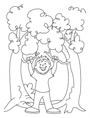 A cute boy is celebrating the arbor day coloring pages | Download
