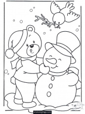 Merry Christmas Bear Birdie and Frosty the Snowman Coloring Page