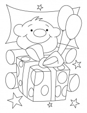A cute teddy bear with birthday gift coloring pages | Download