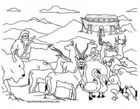 This Noah's Ark coloring page shows Noah directing the animals