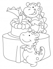 Dinosaur celebrating his birthday coloring pages | Download Free