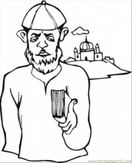 Coloring Pages Jewish Man Near Synagogue (Architecture > Buildings