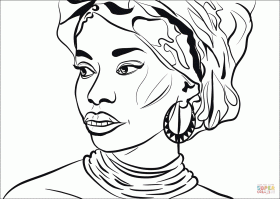 African Woman coloring page | Free Printable Coloring Pages
