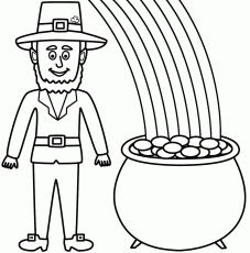 Leprechaun with a pot of gold and rainbow - Coloring Page (St ...