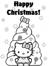 Christmas Hello Kitty - Coloring Pages for Kids and for Adults