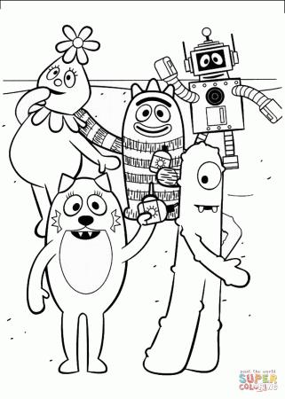 yo gabba gabba characters coloring page free printable coloring