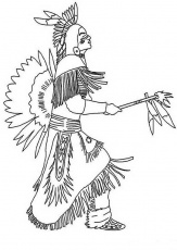 Native American Doing Pow Wow Dance Coloring Page | Kids Play Color
